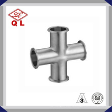 3A 304 / 316L aço inoxidável sanitário travado Cross Cross Four Way