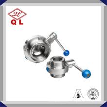 304 / 316L Vanne papillon à anneaux en acier inoxydable sanitaire