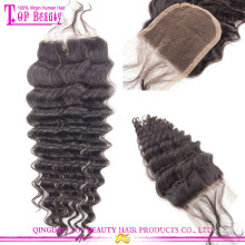 Qingdao factory supply remy lace front closure 100% brazilian Human hair lace closure with baby hair