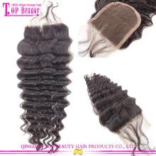 Qingdao fábrica abastecimento remy laço fechamento dianteiro 100% cabelo humano brasileiro do laço encerramento com cabelo do bebê