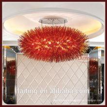 Red Coral Fancy Indoor Lighting Crystal Chandelier Decoration Light