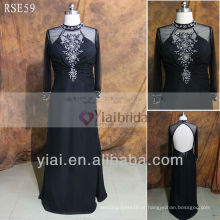 RSE59 Sexy Black Mother Of The Bride Dress Evening Dress