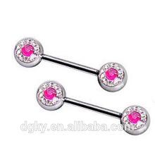 Hot Pink Y CZ claro pezón piercing 316L quirúrgico de acero pezón anillo de la barra