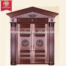 Entrée de luxe Custom Custom Door Porte en bronze, double porte battante