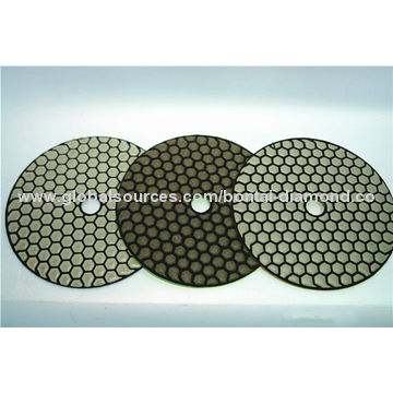 Diamond dry polishing pads for stone and concrete