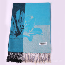 Ladies 'Blue Large Pashmina Winter Schal für Jacquard Pattern