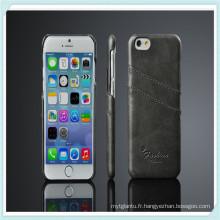 pour l'étui rigide de PC de peau de dos en cuir de luxe de l'iPhone 6s
