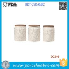 Vasilha de café de açúcar branco Magnolia Tea com tampa de bambu