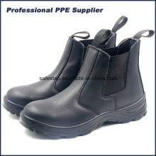 No Lace Genuine Leather Steel Toe Work Shoe