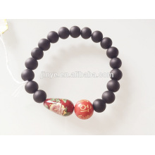 Pedra natural preta pintada pulseira de contas de madeira
