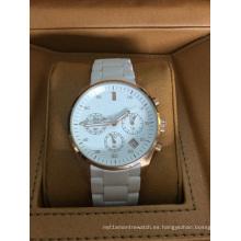 Auténtico reloj de cerámica de marca grande con 3 ojos y empujadores y ventana de fecha