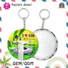 Metal Key Ring with Round Mirror Keychain