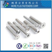 Taiwán Acero al carbono de alta calidad Acero inoxidable niquelado Galvanizado M3 Torx Drive Security Tornillo