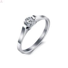 Anel de prata simples anel de aço inoxidável anel de noivado de casamento de cristal