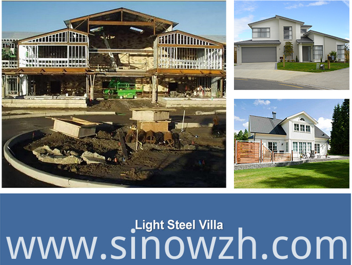 Differet solution of light steel frame villa
