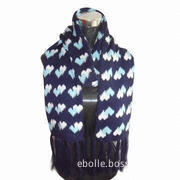 Jacquard Heart Scarf, Comes in Various Colors