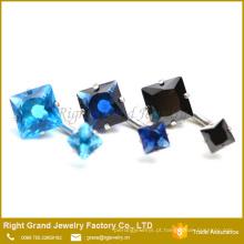 Anéis de aço cirúrgicos personalizados do umbigo do zircão ajustado do dente da forma