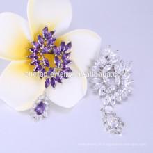 Broches en forme de paon Broche en cristal violet