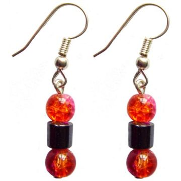 Hematite Earring With 925 Red Silver Hook
