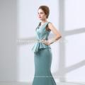 Elegante Spitze applizierte Langarm Top A Line Tüll blau langes Abendkleid 2018