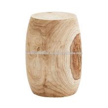 Tabouret rond à finition naturelle en bois de mangue