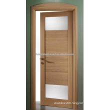 Oak Finish Wooden Swing Doors With 2 Lite Frosted Glass (S19-09)