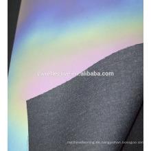 Top-Qualität Regenbogen Farbe PU reflektierende Leder Silber Rohstoff für Schuhe
