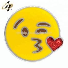 Atacado rodada de fundição personalizado emoji esmalte gilt lapela pinos