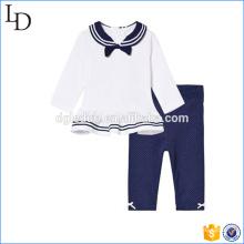 Conjunto de tela para niños de color azul marino y blanco Conjunto de pantalones y top de algodón 100%