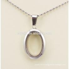 Cadre en acier inoxydable de qualité supérieure pendentif en forme de pendentif ovale pour femmes