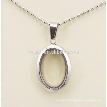 Top quality steel photo frame locket pendant oval photo frame pendant for women