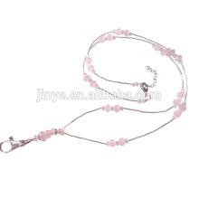Handmade Pink Tiger Eye Crystal ID Card Holder Beaded Keychain Lanyard