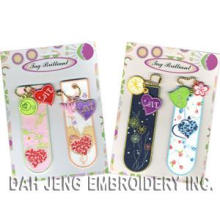 Pink & Blue Embroidered Bookmarks Pack with Embroidered Charms (00890252)