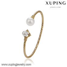 51774 xuping 18k gold color fashion double pearl bangle for wedding