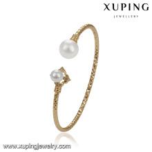 51774 xuping 18 k cor da moda de ouro duplo pérola pulseira para o casamento
