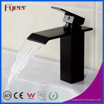 Negro orbe cascada lavabo grifo del baño del grifo del grifo del agua (Q3003B)