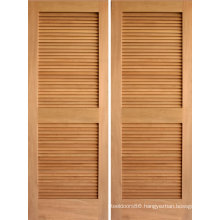 Walnut Veneered Louver Folding Closet Door