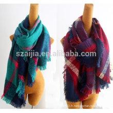 Mode faux cachemire femme hiver foulard à carreaux surdimensionnés
