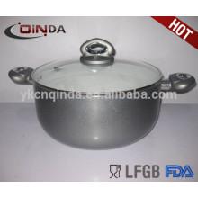 QINDA aluminio antiadherente bajo saucepot con tapa de vidrio