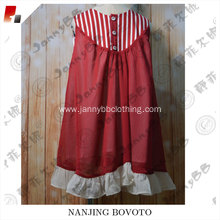 red stripe chiffon fabric little girl dress