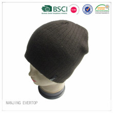 Men Acrylic Rib Knitted Beanie With Fleece Lining