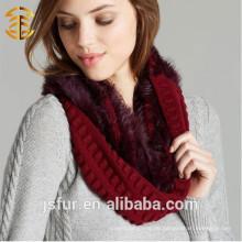 Top-Qualität Mode Winter Rot und Schwarz Genuine Kaninchen Pelz gestrickte Schal