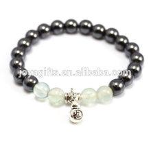 2014 New Arrival 4pcs Natural Fluorite Gemstone avec des grains de thérapie magnétique et un bracelet pendentif Calabash