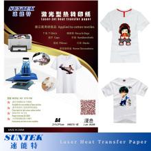 A4 Tamaño Laser Jet Color claro papel de traspaso térmico para la camiseta