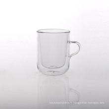 Tasse à thé en verre à double paroi en borosilicate 9 oz