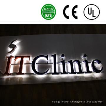 Signes de lettre de la Manche en acier inoxydable rétro-éclairés de la publicité LED