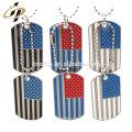 Hot bulk wholesale custom metal blank military dog tag with ball chain