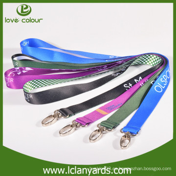 Empresa personalizada de impresión digital poliéster cordones con gancho de metal pulgar