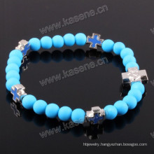 Fashion Elastic Blue Plastic Beads with Alloy Cross Catholic Bracelet