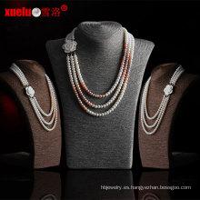 3 filamentos último diseño collar de perlas de agua dulce (e130091)